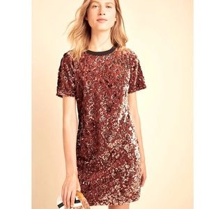 Andi Sequined Tee Dress Anthropologie NWT